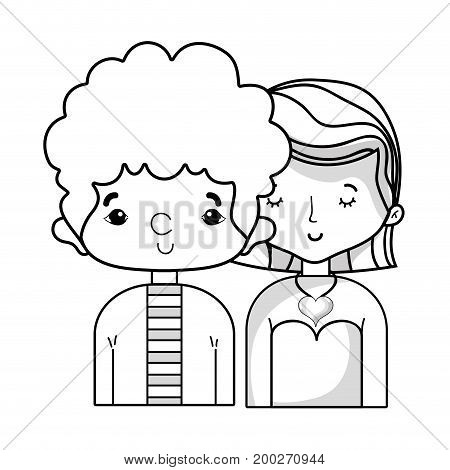 line beauty couple together with hairstyle design vector illustration