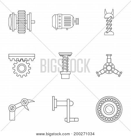 Machinery gear icon set. Outline style set of 9 machinery gear vector icons for web isolated on white background