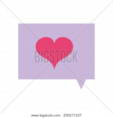 chat bubble with heart of love symbol vector illustration