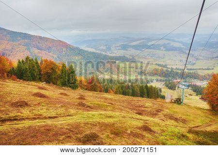 Cableway And Ski Lifts At Mountains