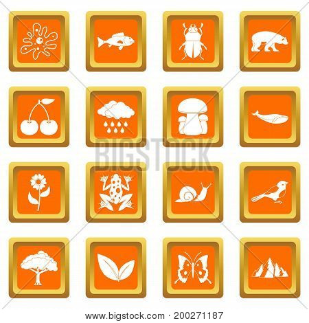 Oil industry items icons set in orange color isolated vector illustration for web and any design