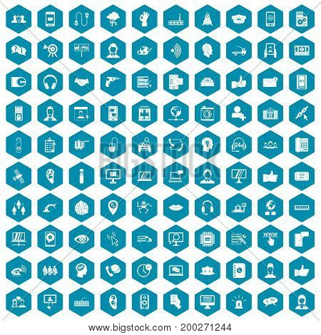 100 call center icons set in sapphirine hexagon isolated vector illustration