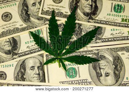 Cannabis leaf on heap of hundred dollar bills