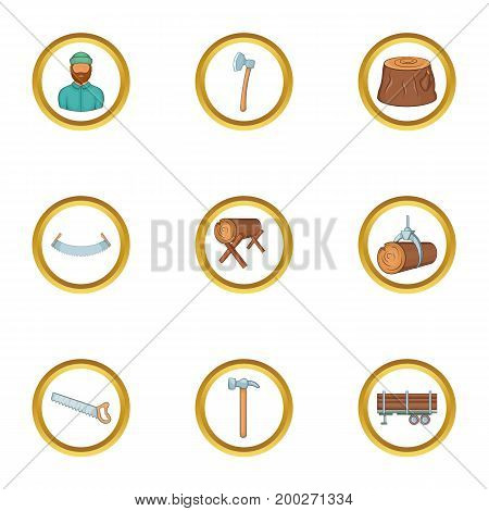 Lumberjack tools icon set. Cartoon style set of 9 lumberjack tools vector icons for web isolated on white background