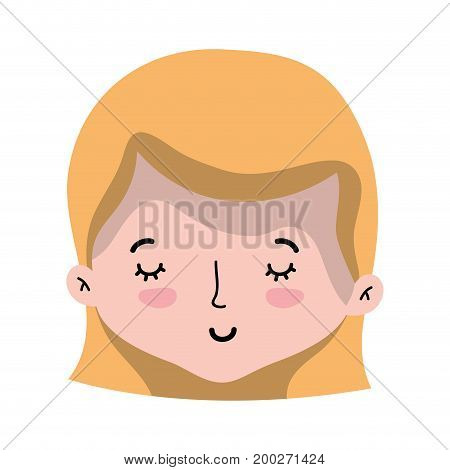 cute woman head with hairstyle design vector illustration
