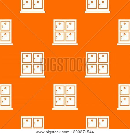 Cells for storage in the supermarket pattern repeat seamless in orange color for any design. Vector geometric illustration