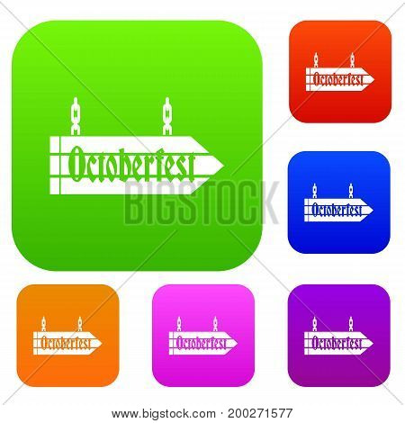 Sign octoberfest set icon in different colors isolated vector illustration. Premium collection