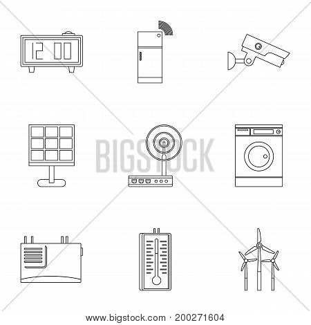 Automatic electronic devices icon set. Outline style set of 9 automatic electronic devices vector icons for web isolated on white background