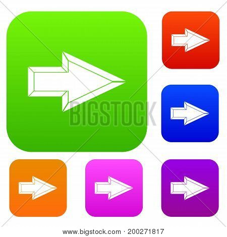 Pointer set icon in different colors isolated vector illustration. Premium collection
