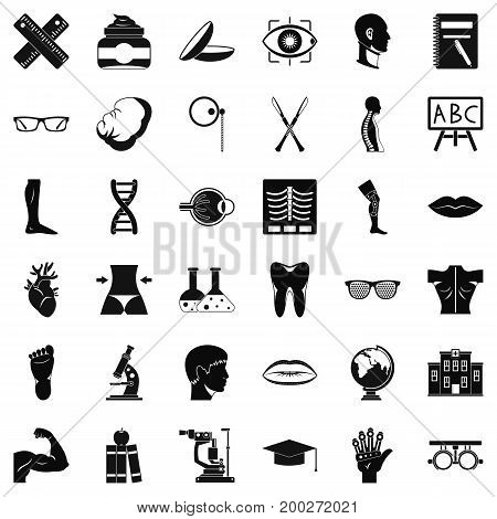 Anatomy in medicine icons set. Simple style of 36 anatomy in medicine vector icons for web isolated on white background