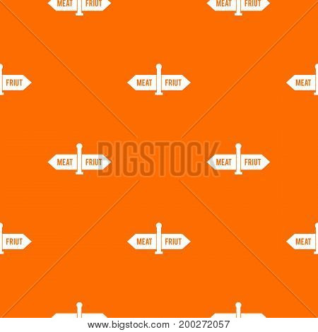 Department signs in the supermarket pattern repeat seamless in orange color for any design. Vector geometric illustration