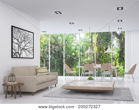 Modern white living and dining room with nature view 3d render image.There are white floor .There are large window overlooking to the garden and nature and furnished with wood furniture