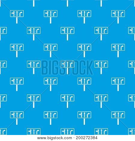 Traffic lanes at crossroads junction pattern repeat seamless in blue color for any design. Vector geometric illustration