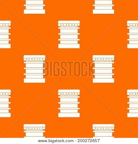 Empty supermarket refrigerator pattern repeat seamless in orange color for any design. Vector geometric illustration