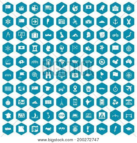 100 cartography icons set in sapphirine hexagon isolated vector illustration