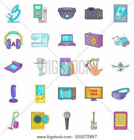 Electronic device icons set. Cartoon set of 25 electronic device vector icons for web isolated on white background