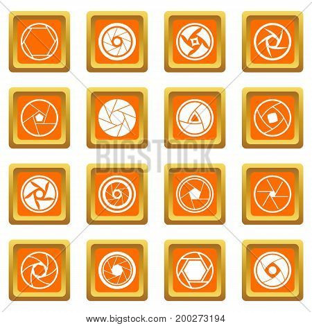 Photo diaphragm set. Simple illustration of 16 photo diaphragm vector icons set in orange color isolated vector illustration for web and any design