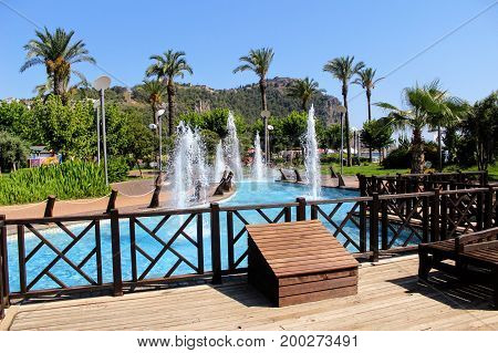 Fountains in the park of the 100th anniversary of Ataturk (Alanya, Turkey).