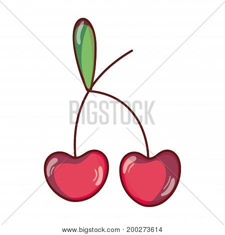 delicious cherry fruit with protein nutrition vector illustration