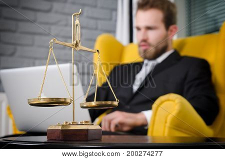 Weight Scale Of Justice, Lawyer In Background