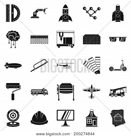 Graphics icons set. Simple set of 25 graphics vector icons for web isolated on white background