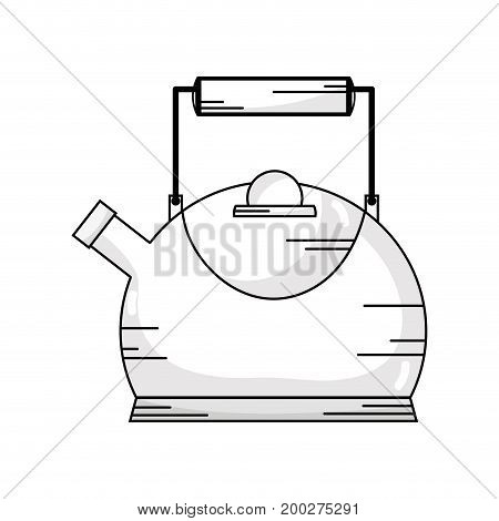 line classical and elegant teapot ktchen utensil vector illustration