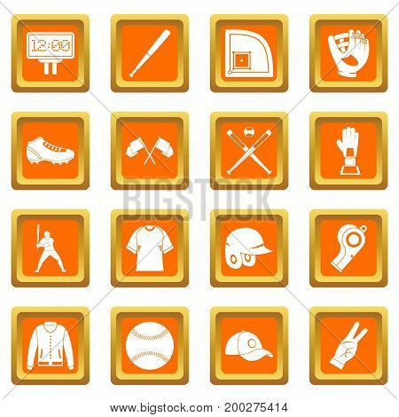 Baseball icons set in orange color isolated vector illustration for web and any design