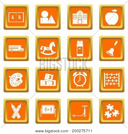 Kindergarten symbol icons set in orange color isolated vector illustration for web and any design