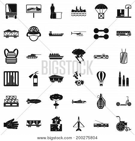 Load icons set. Simple style of 36 load vector icons for web isolated on white background