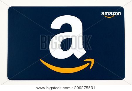 MONTREAL CANADA - JULY 30 2017 : Amazon gift card on a white background
