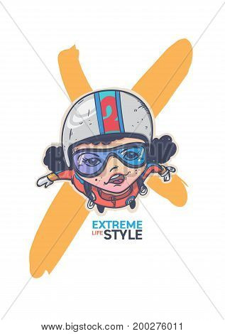 Extreme sport parachute Cartoon character design.extreme life style.