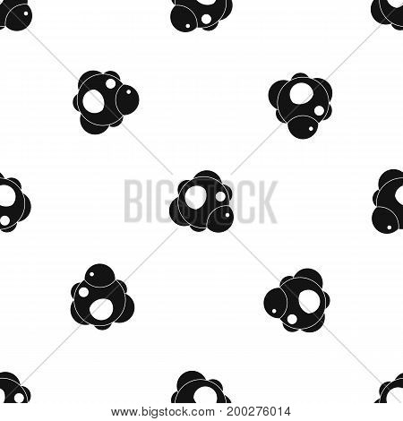 Atom pattern repeat seamless in black color for any design. Vector geometric illustration