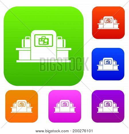 Airport baggage security scanner set icon in different colors isolated vector illustration. Premium collection