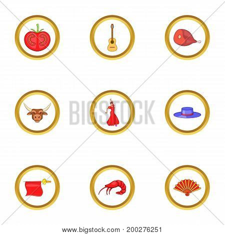 Catalonia icons set. Cartoon illustration of 9 catalonia vector icons for web design