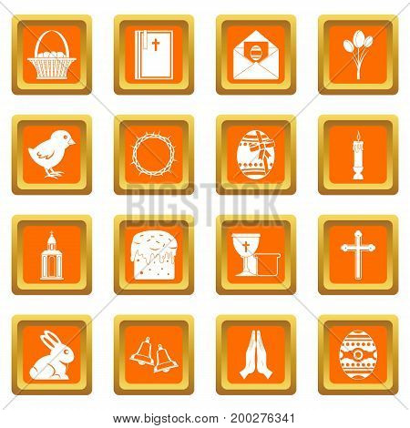 Easter items icons set in orange color isolated vector illustration for web and any design