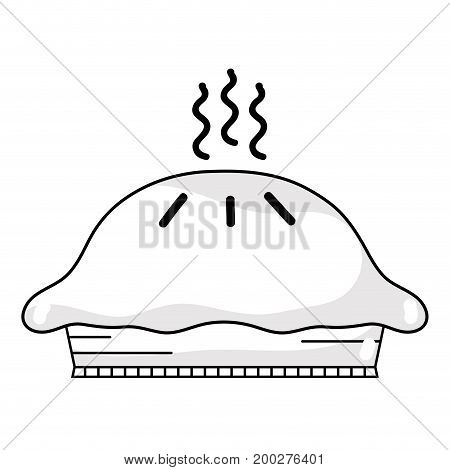 line delicious and sweet fresh cake vector illustration