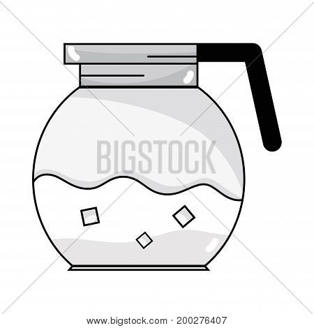 line delicious coffee in the crystal jar espresso vector illustration