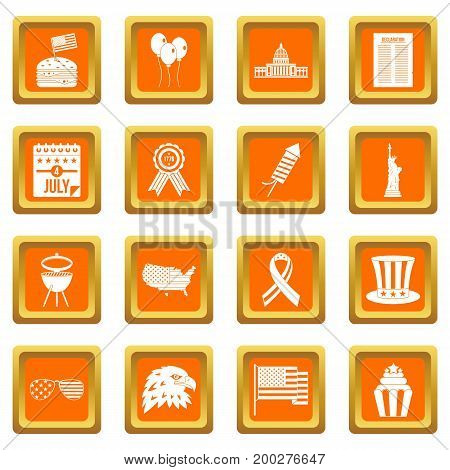 Independence day flag icons set in orange color isolated vector illustration for web and any design