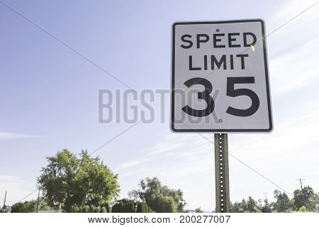 Thirty five mile per hour speed limit sign