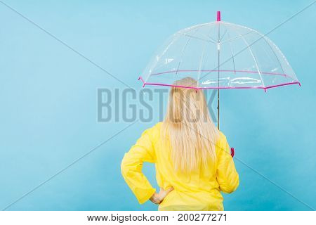 Blonde Woman Holding Transparent Umbrella