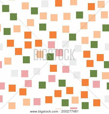 Abstract Squares Pattern. White Geometric Background. Cool Random Squares. Geometric Chaotic Decor.