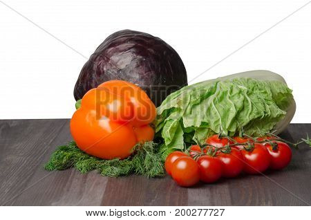 Vegetables On A Table Isolated On A White Background