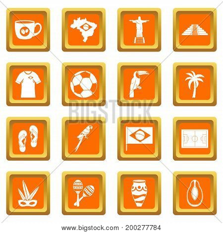 Brazil travel symbols icons set in orange color isolated vector illustration for web and any design