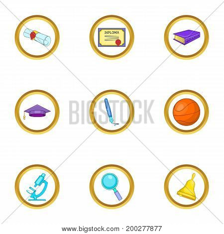 Diploma icons set. Cartoon illustration of 9 diploma vector icons for web design