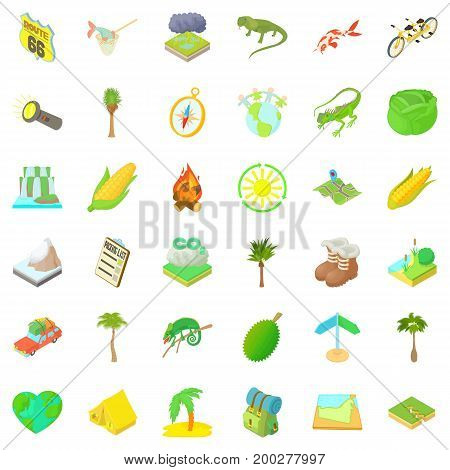 Rest in forest icons set. Cartoon style of 36 rest in forest vector icons for web isolated on white background
