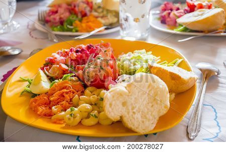 Delicious and appetizing malagasy vegetarian food on table