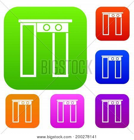 Security gate at entrance of airport set icon in different colors isolated vector illustration. Premium collection