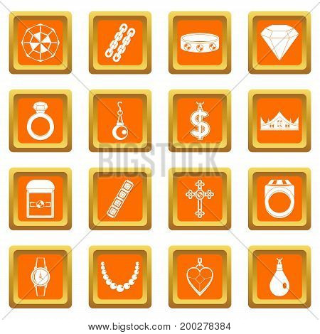 Jewelry items icons set in orange color isolated vector illustration for web and any design