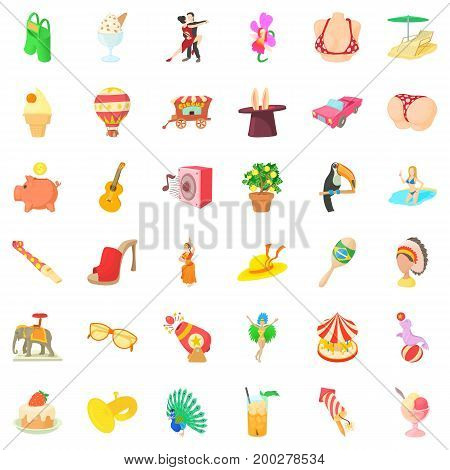 Great carnival icons set. Cartoon style of 36 great carnival vector icons for web isolated on white background