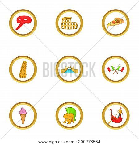 Tourism in Italy icon set. Cartoon style set of 9 tourism in Italy vector icons for web isolated on white background